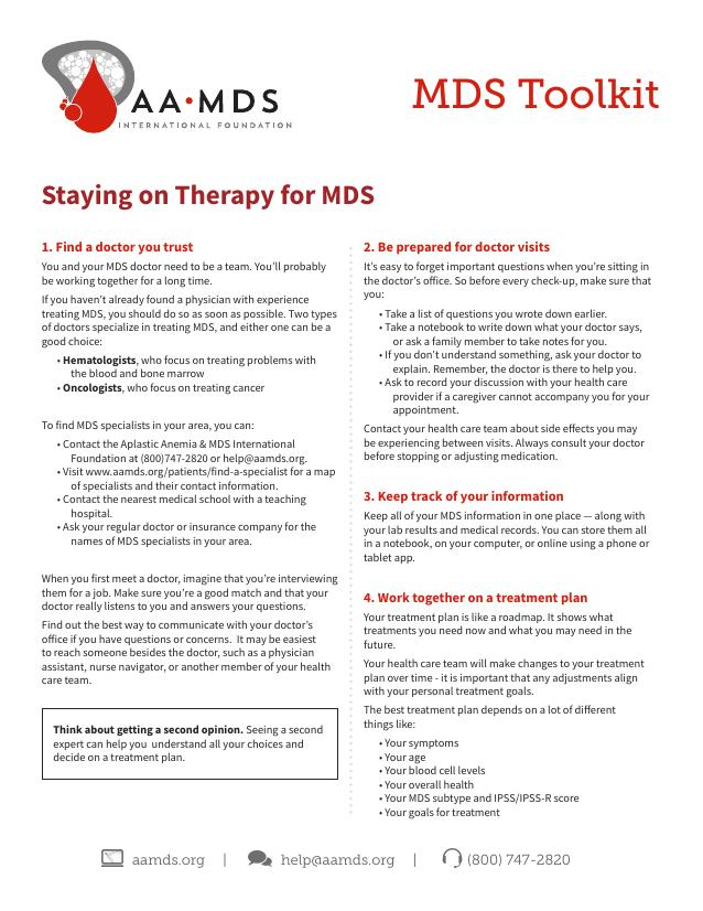 MDS Toolkit - Staying on Therapy (Thumbnail)